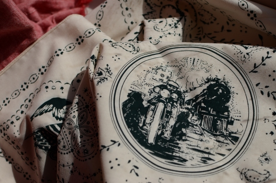 Detail #2 of Oversized Discharge Print on Cotton Bandanas for Norcross Co.