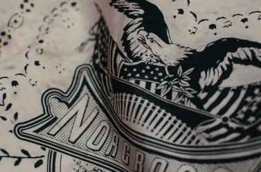 Detail #1 of Oversized Discharge Print on Cotton Bandanas for Norcross Co.