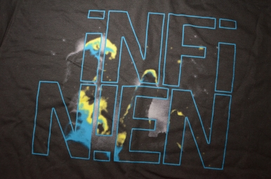 3-color Design & Discharge Print for the Philly band, Infinien