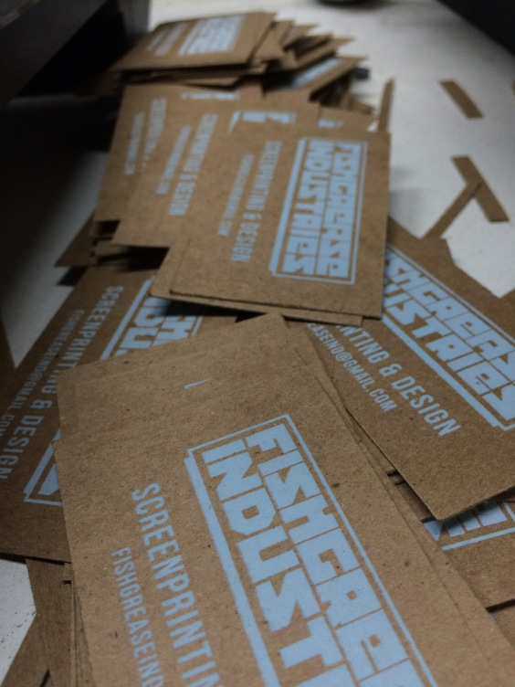 Hand-Printed Business Cards - Unactivated Discharge Ink on Chipboard